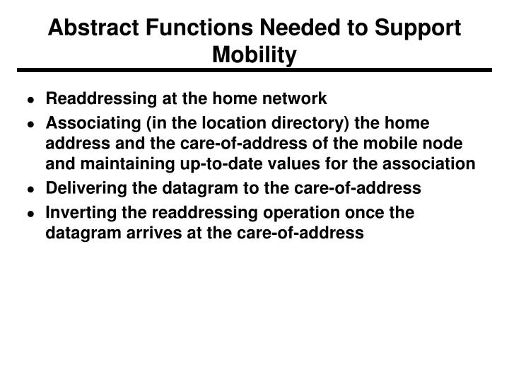 Abstract Functions Needed to Support Mobility