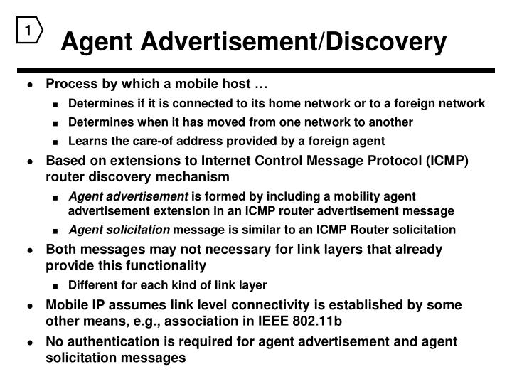 Agent Advertisement/Discovery