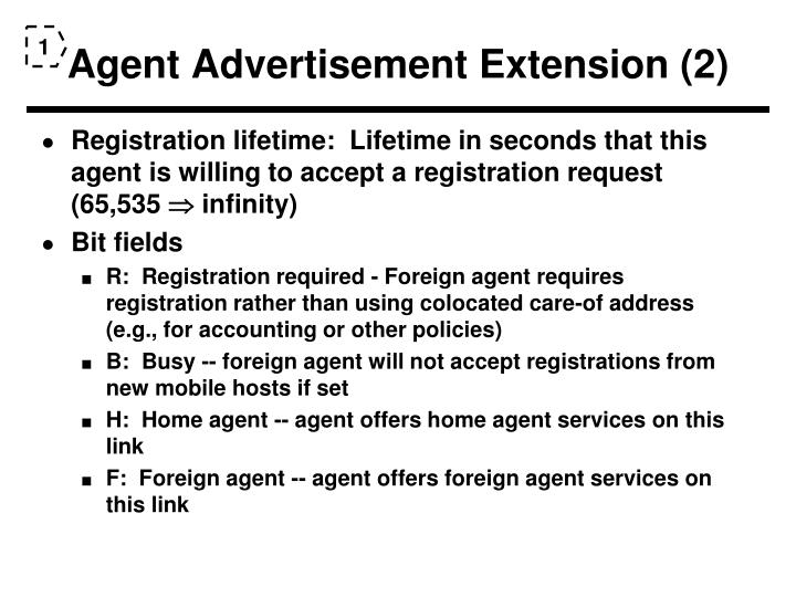 Agent Advertisement Extension (2)
