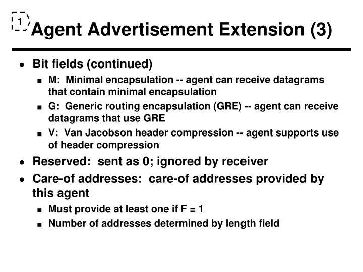 Agent Advertisement Extension (3)