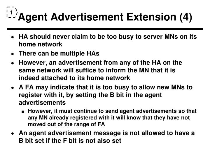 Agent Advertisement Extension (4)