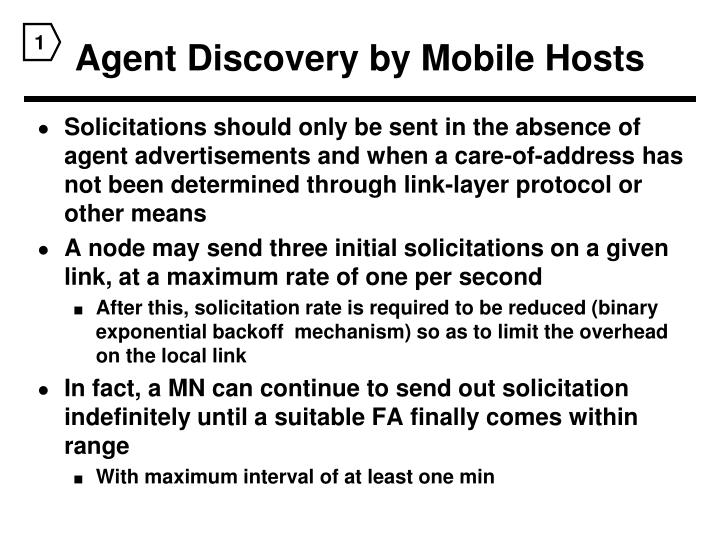 Agent Discovery by Mobile Hosts