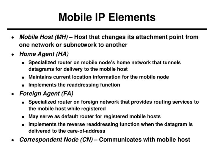 Mobile IP Elements