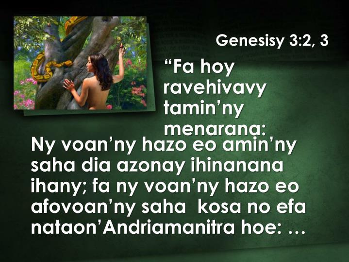 Genesisy 3:2, 3