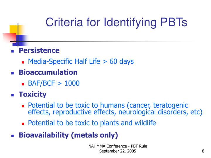 Criteria for Identifying PBTs