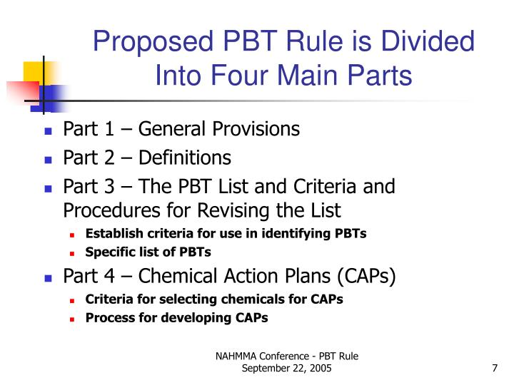 Proposed PBT Rule is Divided Into Four Main Parts