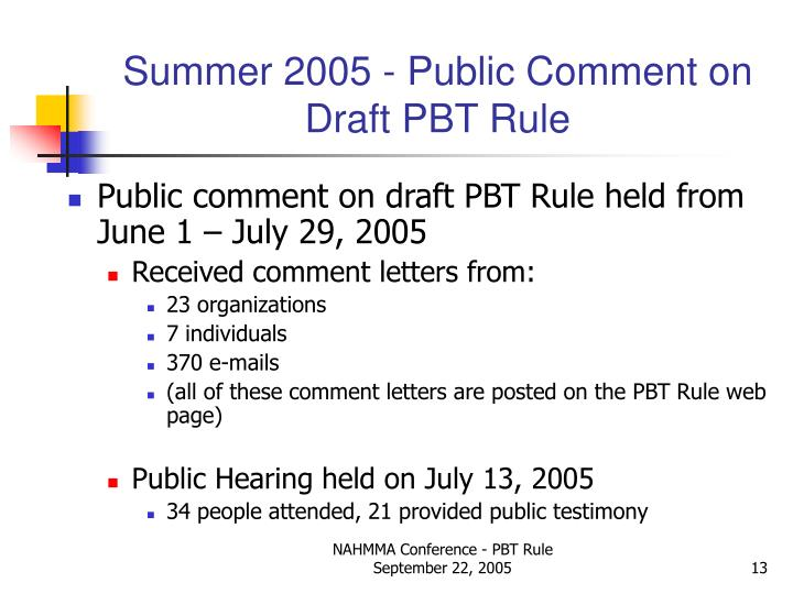Summer 2005 - Public Comment on