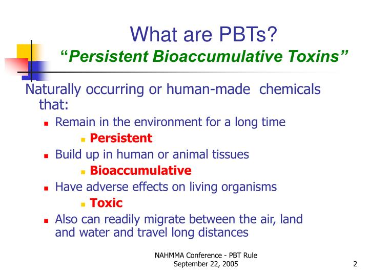 What are pbts persistent bioaccumulative toxins