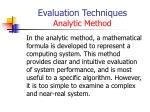 evaluation techniques analytic method