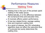 performance measures waiting time