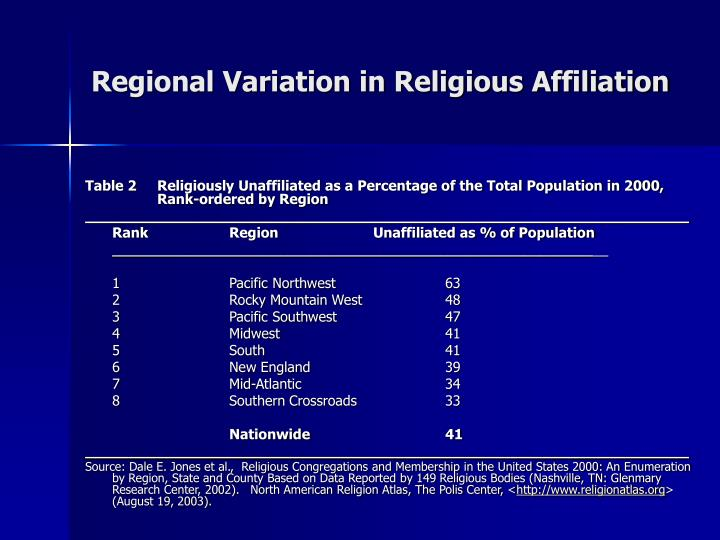 Table 2Religiously Unaffiliated as a Percentage of the Total Population in 2000, Rank-ordered by Region
