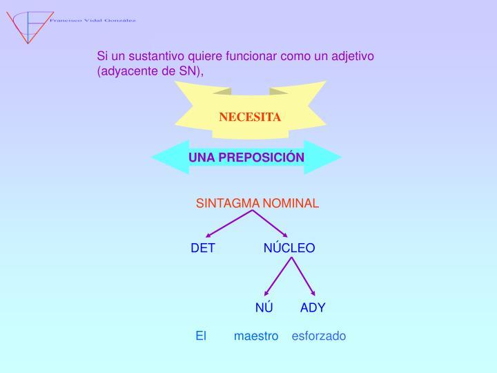 Si un sustantivo quiere funcionar como un adjetivo (adyacente de SN),