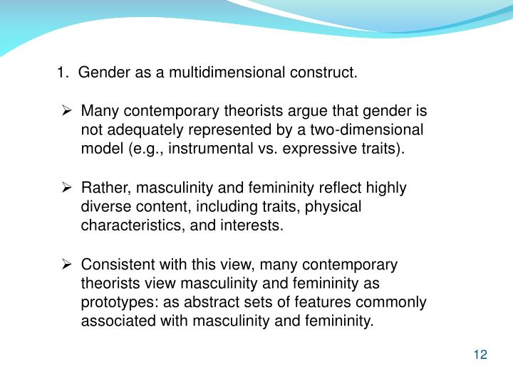 1.  Gender as a multidimensional construct.