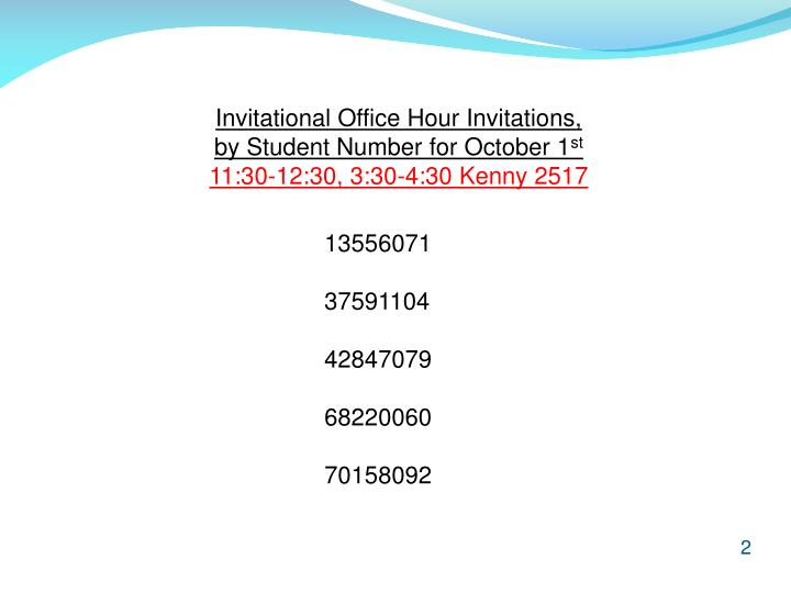 Invitational Office Hour Invitations,