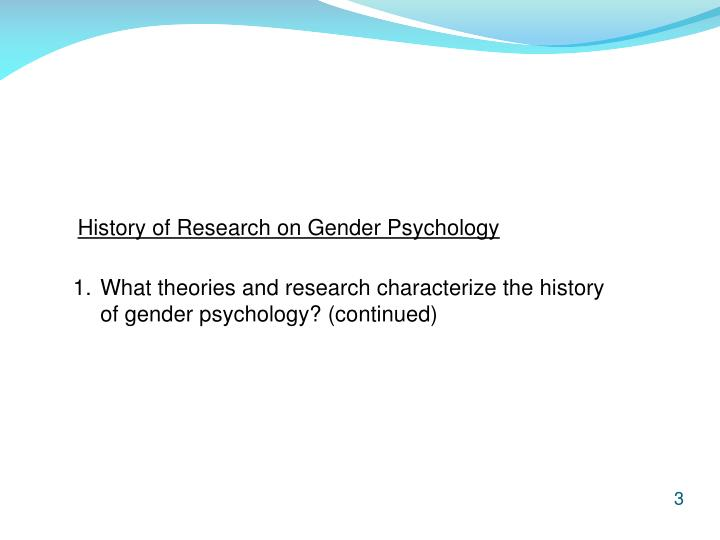 History of Research on Gender Psychology