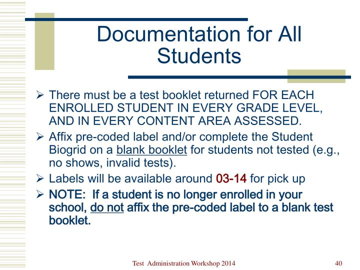 Documentation for All Students