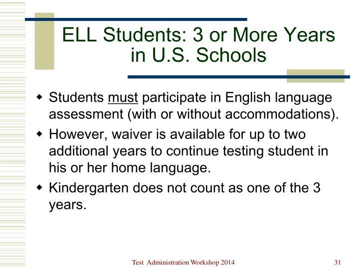 ELL Students: 3 or More Years in U.S. Schools