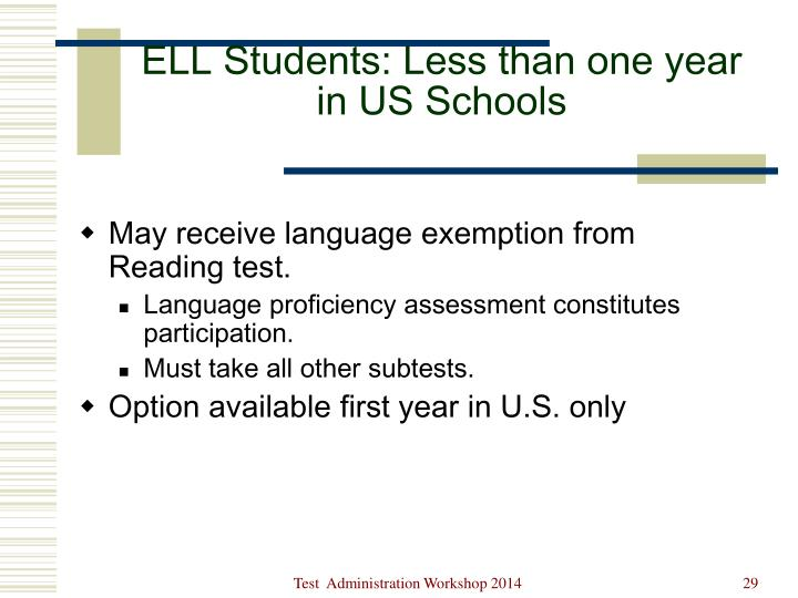 ELL Students: Less than one year in US Schools