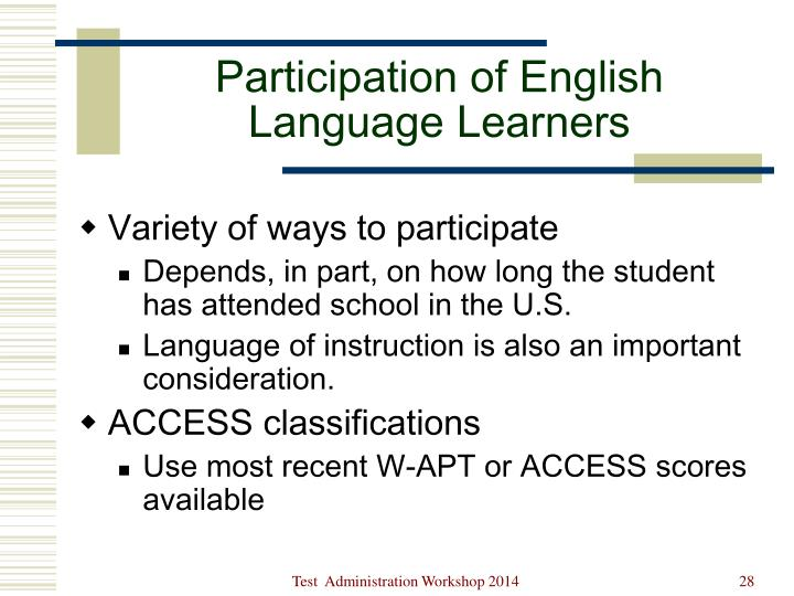 Participation of English Language Learners