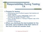 responsibilities during testing ta