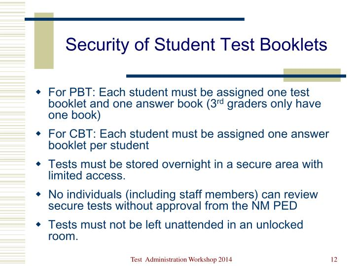 Security of Student Test Booklets