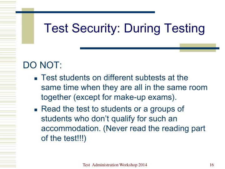 Test Security: During Testing