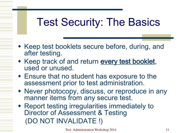 Test Security: The Basics