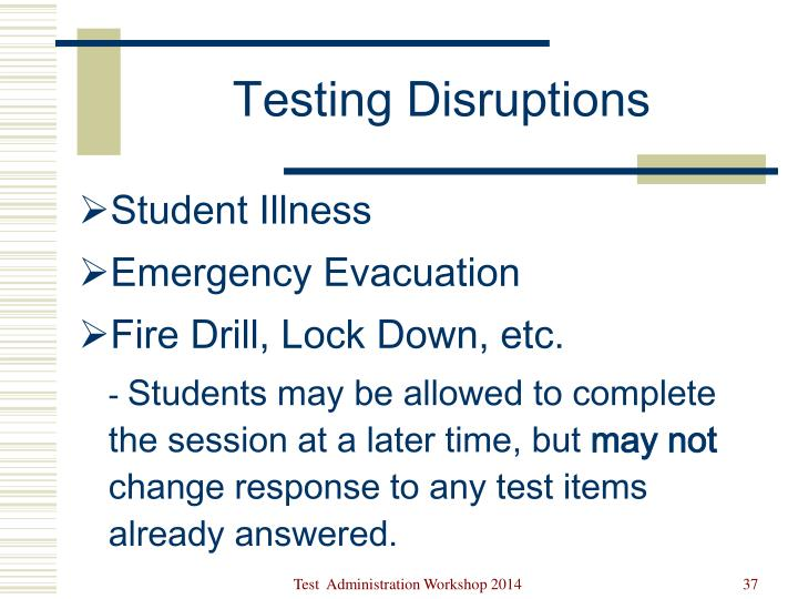 Testing Disruptions