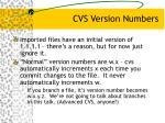 cvs version numbers