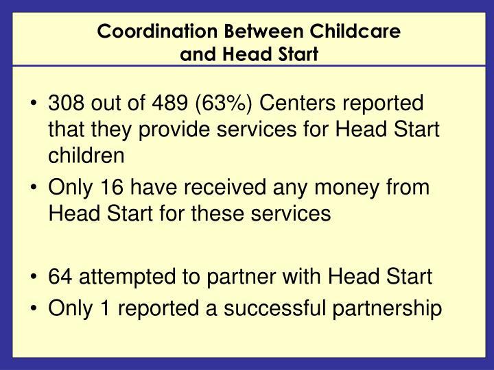 Coordination Between Childcare                                     and Head Start