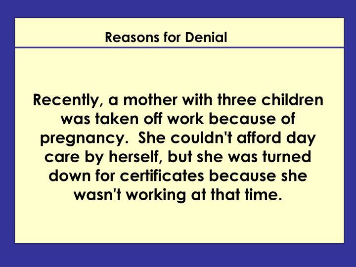 Reasons for Denial