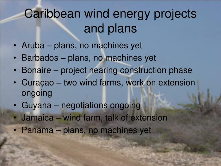 Caribbean wind energy projects and plans