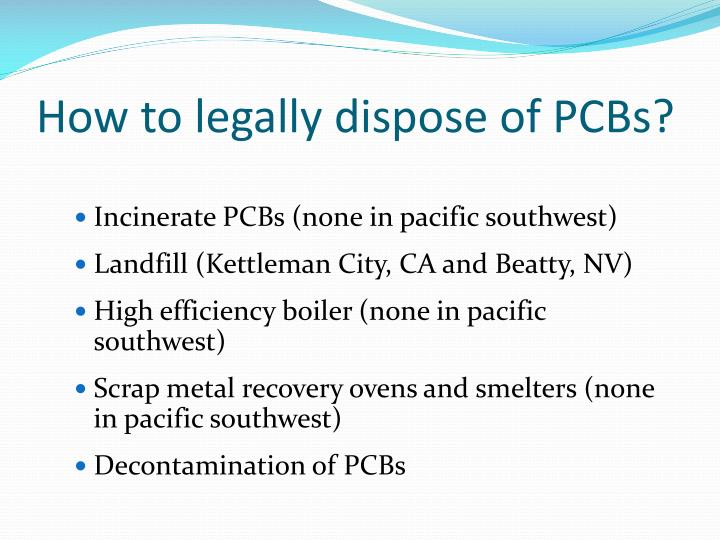 How to legally dispose of PCBs?