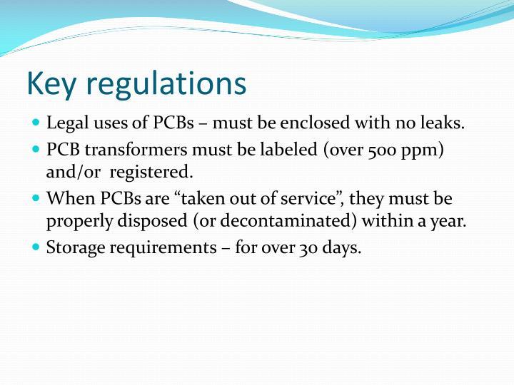 Key regulations