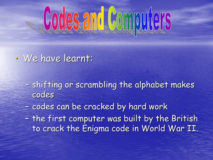 Codes and Computers