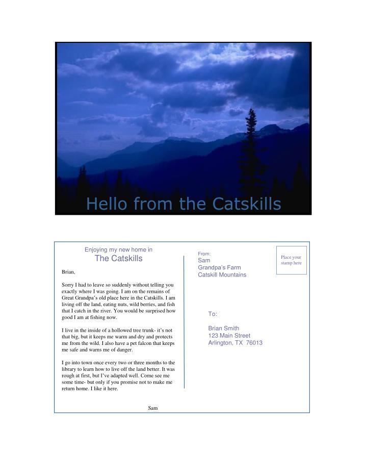 Hello from the Catskills