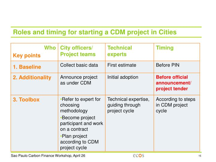 Roles and timing for starting a CDM project in Cities
