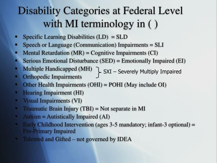 Disability Categories at Federal Level