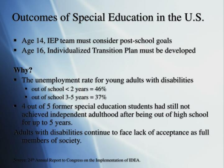 Outcomes of Special Education in the U.S.