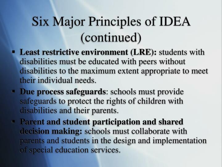 Six Major Principles of IDEA (continued)