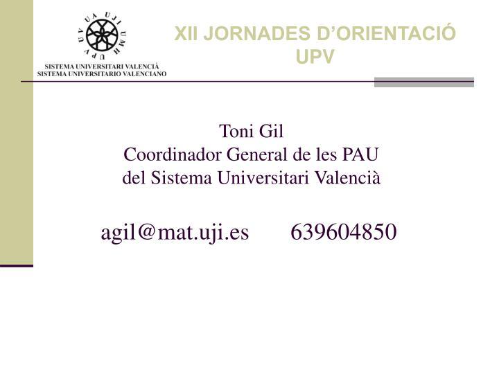 XII JORNADES D'ORIENTACIÓ UPV