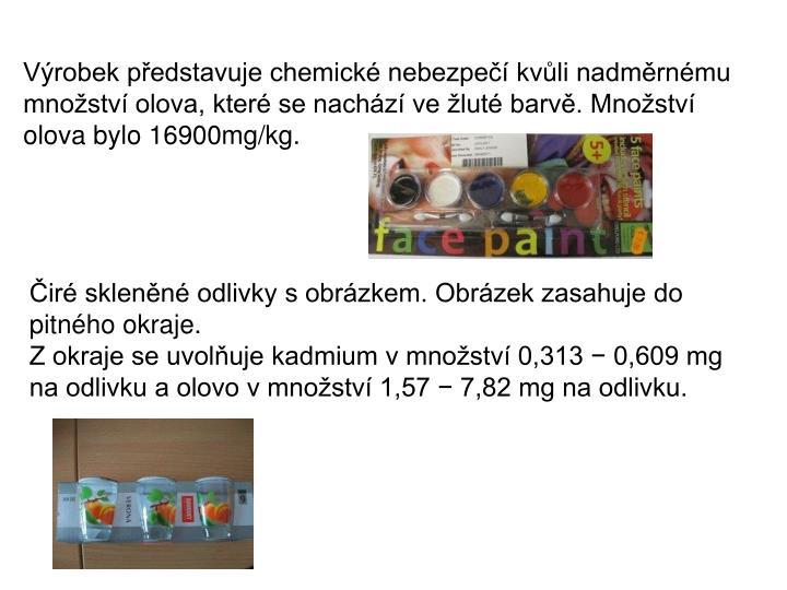 Výrobek představuje chemické nebezpečí kvůli nadměrnému množství olova, které se nachází ve žluté barvě. Množství olova bylo 16900mg/kg.