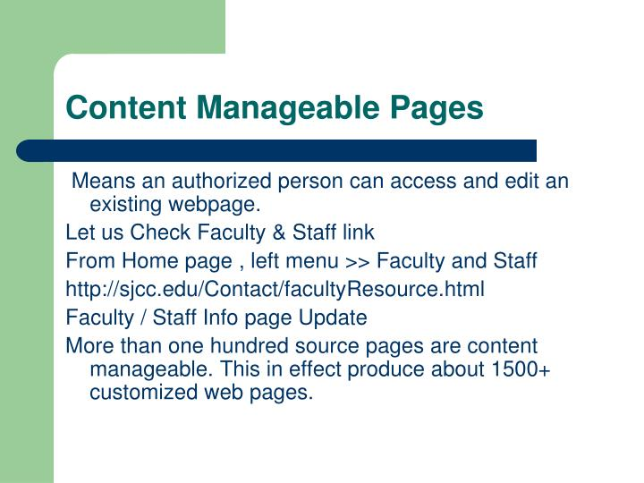 Content Manageable Pages