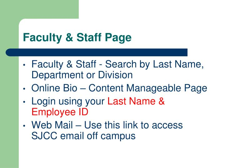 Faculty & Staff Page