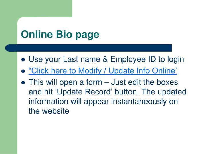 Online Bio page