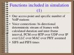 functions included in simulation 1