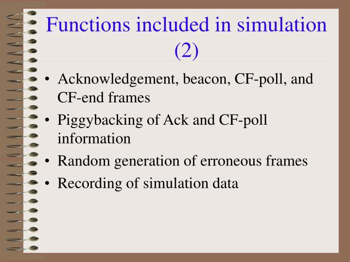 Functions included in simulation (2)