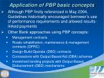 application of pbp basic concepts