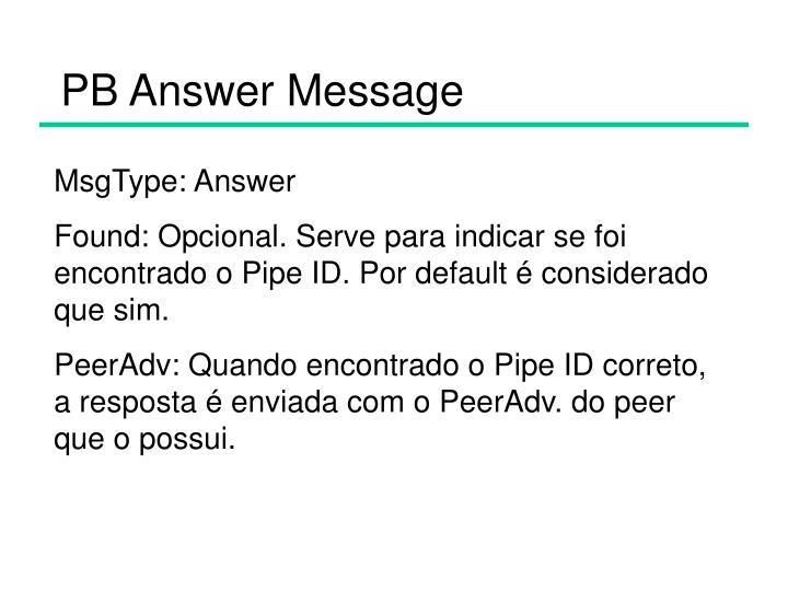 PB Answer Message