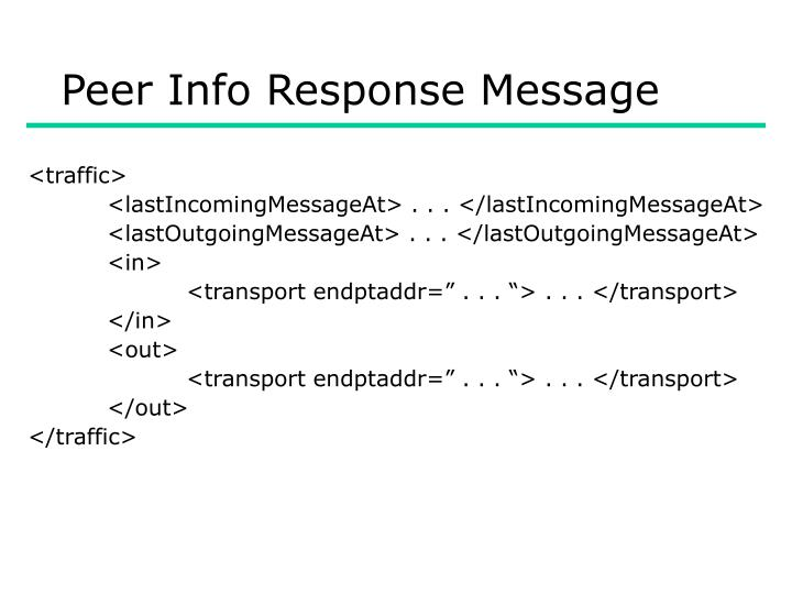 Peer Info Response Message